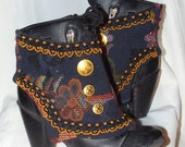 Steampunk inspired, lovely, lace up, leather, floral spats, gaiters