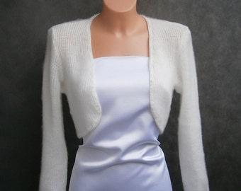 Lena II - (Not only) Wedding bolero, sweater size - S/M/L, Ivory, 3/4 sleeves