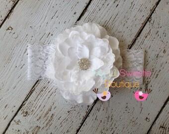 White Silk lace Flower on Lace Headband- Photo Prop - Baby Girl Headband - Toddler Headband - Communion baptism