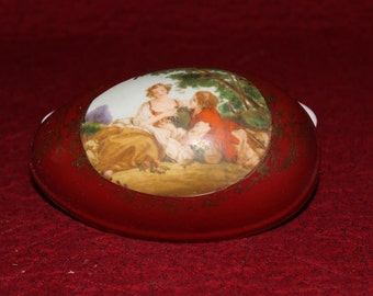 Vintage Porcelain Egg Trinket Box Marked with Green Wreath Mark