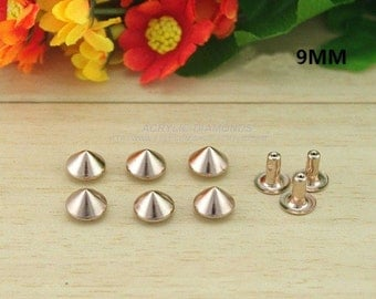 100pcs 9mm Rose Gold plated CONICAL Rapid Rivet Studs For Punk Bag Shoes and Cloth DIY Accessories,Cellpone accessories