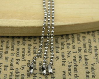 50pcs 24'' 1.5mm Bead Stainless Steel Ball Chain Necklace with Connectors,Lead Free Best For Scrabble Tiles, Dog Tag, Glass Pendant