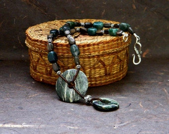 Serpentine, Brown Mother of Pearl, Moss Agate and Sterling Silver Beaded Necklace