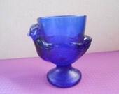 Vintage Cobalt Blue Glass Hen/Chicken Egg Cup