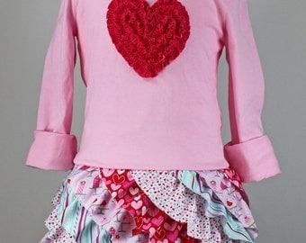 Valentine ruffle T-shirt dress pdf pattern toddler girl heart FLUFFY RUFFLE