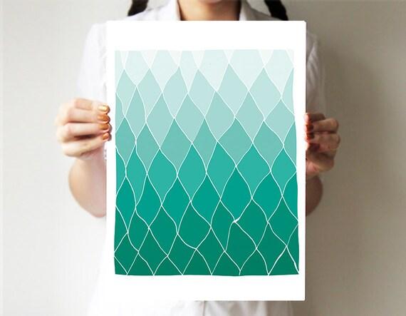 Impression géométrique - Teal - mains base dessin - art abstrait - art - losange - art de l