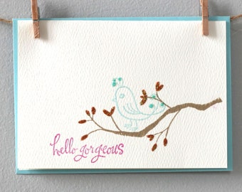 Greeting card - hello gorgeous bird by EMandBELLE