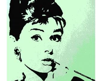 Handmade Audrey Hepburn Silhouette PDF Cross-Stitch Pattern