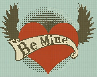 Be Mine Heart with Wings Tattoo Handmade Cross-Stitch Pattern