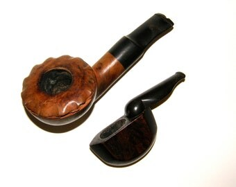 Tobacco Pipe, Lot of 2 Estate Pipes, Collapsable, Briar-Root, Mad Men, Tobacciana, Smoking, c1940