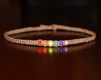 Rainbow Necklace Hemp Choker Necklace Custom Hemp Necklace Rainbow Choker Brown Choker Brown Necklace Rainbow Jewelry Rainbow Pride Necklace