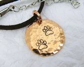 """Copper Pendant 3/4"""", Hammered Copper Personalized Disc Pendant Necklace,  Paw Prints, Dog Tracks,"""