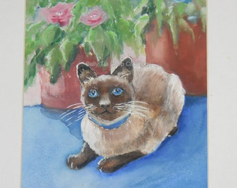 "Adorable Siamese Cat Print  Feline Watercolor Animal Art Print 8.5"" x 11"" by Sally T. Crisp"