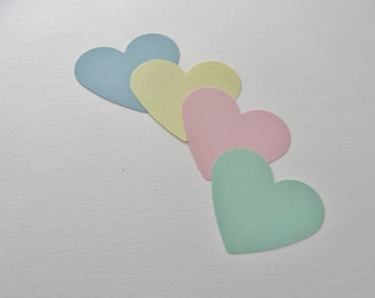 Spring Party Decor, Pastel Heart Tags, Pastel Colors, Card Stock Cut Outs, Die Cuts, Wedding Baby Shower Decorations Tags Set of 100