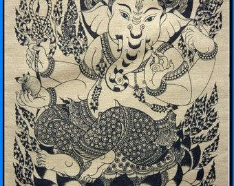 Thai traditional art of Ganesha by silkscreen printing on cotton(3)