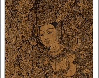Thai traditional art of Kinnaree by printing on sepia paper