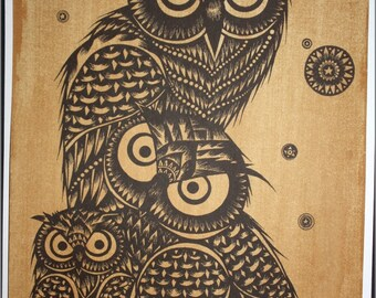 Thai traditional art of Owls by printing on sepia paper