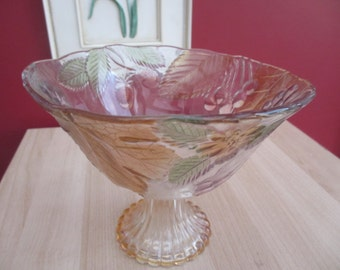 Vintage Glass Embossed fruit design bowl SALE ITEM