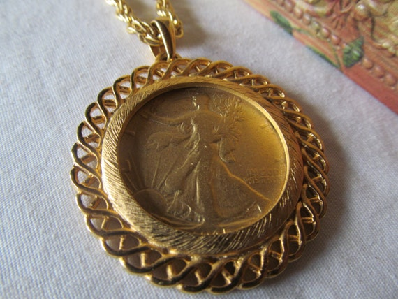 RESERVED For PARKER 1945 Walking Liberty Half Dollar Gold Wash Necklace Coin Jewelry