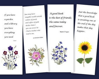 Set of 4 pressed flower bookmarks - Quotes for readers and  book lovers - #072