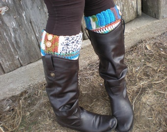 Multicolored Boot Cuff with Wooden Buttons - Colorful Boot Sock with Elastic Bands - Legwear - Gift Idea for Her - Choose Your Color