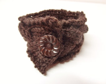 Knitted Cable Cuff Bracelet in Brown