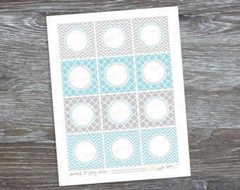 INSTANT DOWNLOAD - Editable and printable PDF 2 inch party circles: Light Blue and Gray - Type your own text and print