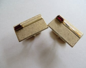 Vintage Swank Gold Tone Cufflinks With Red Stone