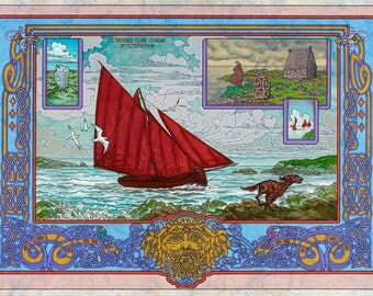 E And Y Galway ... Art Print, Celtic knot, Galway Hooker, Red Setter, Wildlife, Folklore
