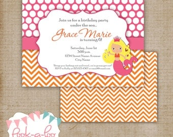 Mermaid Party Invitation - Pink and Orange
