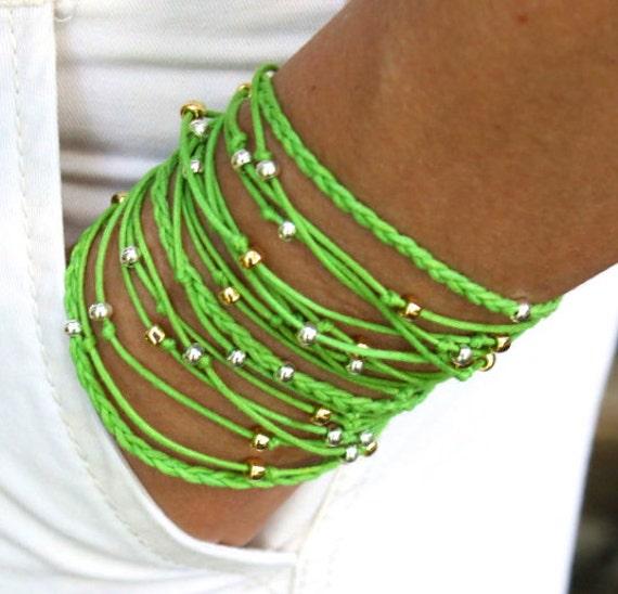 "BOHO Beach Beaded Wrap Bracelet - Lime Green TRIPLE Braided Knotted Wrap bracelet - 23.5"" Wrist 6.20"" to 7"" - Made in USA - Ref 256"