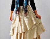 Wave volume love...Ivory / white cotton skirt