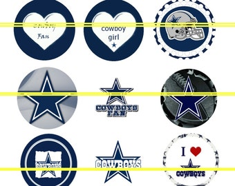 Pre-Cut One Inch Dallas Cowboys Bottle Cap Images