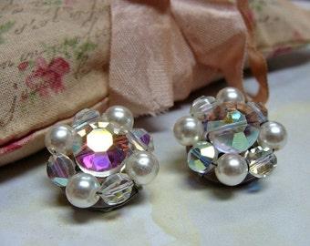 Vintage Clip On Cluster Earrings