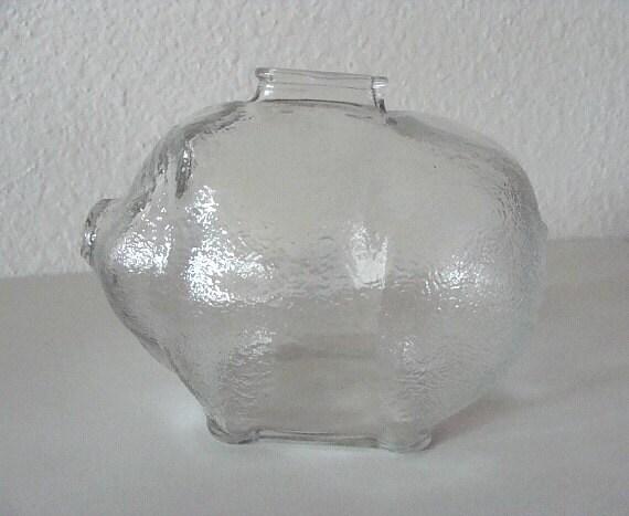 Vintage Anchor Hocking Large Piggy Bank Clear Glass