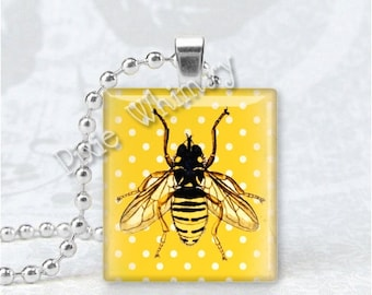 HONEY BEE Pendant, HoneyBee, Honey Bee Necklace, Honeybee Charm, Scrabble Tile Art Pendant Charm, Beekeeping, Apiary