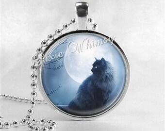 MOON Necklace, Black Cat Necklace, Cat Jewelry, Cat Pendant, Cat Necklace, Moon Jewelry, Glass Photo Art Pendant Necklace