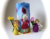 "Table Lamp cover  ""Flower children""  Wet Felted.Fairy light,Bedside,Nightlight.Waldorf."