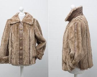 A Vintage Faux Fur Coat by Tyber / Short Coat / Size UK 14 / US 12 / EU 42