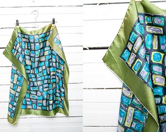 Vintage Head Scarf / A Bright Vintage Silk Hand Rolled Scarf / Blue, Green, Mustard, Green, Black / Square Scarf / Retro Neck Scarves