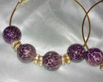 purple leopard hoop earrings
