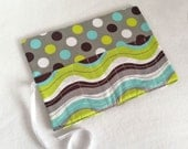 Gray Dot and Blue Green Wavy Makeup Brush Roll