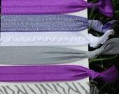 7 Pack Purple gray Zebra polka dot glitter ruffle Hair Ties Stretch Fold Over Elastic Pony Tail Holder Bracelet