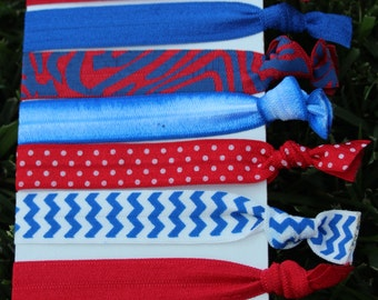 7 Pack Red Blue White Mississippi Red Sox Twins Angels Hair Ties Stretch Fold Over Elastic Bracelet