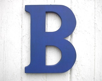 """Wooden Wall Letters """"B"""" 12"""" Modern Too Blue Finish, Big letters Shabby chic wedding gift Nursery Decor Shower gift"""