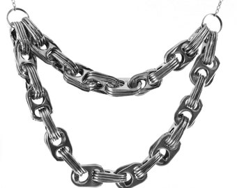 """LAST ONE! Two-tiered Pop Tab Necklace (Short)- 18"""""""