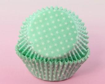 Mint Green Cupcake Liners Polka Stars, 2'' Standard Size , Baking Cups Bulk