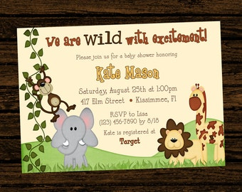 Custom Baby Shower Jungle Themed Birthday Party Invitations - DIY Printable File