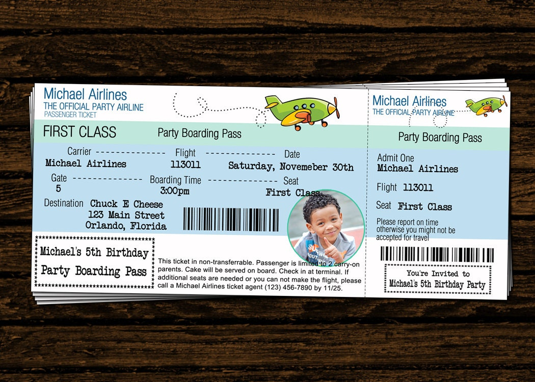 Airline ticket – Airplane Ticket Invitations