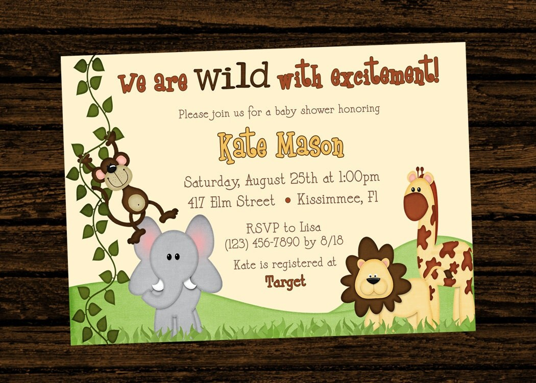 Custom Baby Shower Jungle Themed Birthday Party Invitations